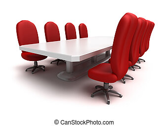 Conference table and red chairs , isolated