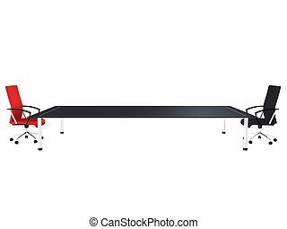 conference table - 3d rendered illustration of red and a...