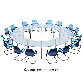 Conference Table - Empty seats round a boardroom conference...