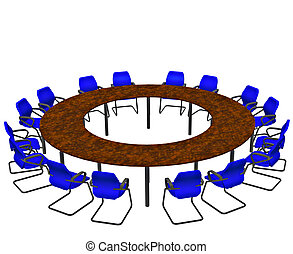 Empty seats round a boardroom conference table