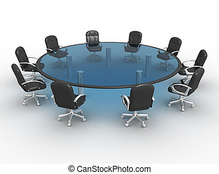 Conference table - Glass conference table . 3d render