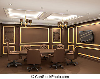 Conference table in royal office interior space. Old styled ...
