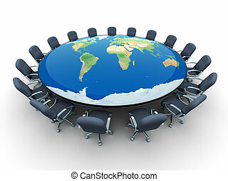 Conference table in the middle globe