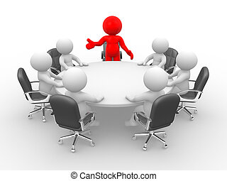 Leadership and team at conference table. This is a 3d render illustration