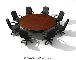 Office chairs and round table - 3d render