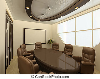 conference table on modern office with big window -...