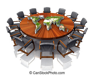 Conference table with a map of the world