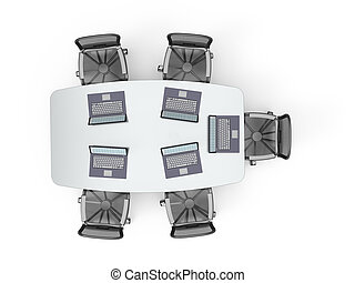 Conference table with laptops - Conference table with opened...
