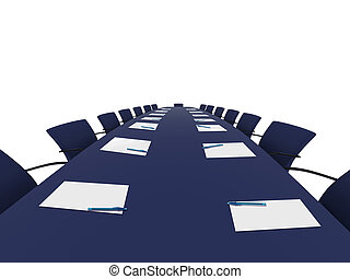 conference table with white papers and pans