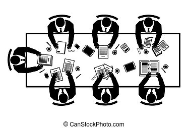 Conference top view. Briefing brainstorming, plan and businessman, vector illustration