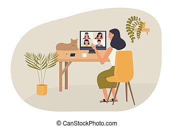 conference., vidéo, desk., concept, appeler, femme, amis, elle, ou, bavarder, maison, collègue