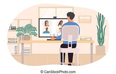 conferencia, colegas, hombre, vídeo
