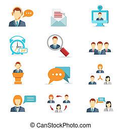conferencia, comunicación, negocio de la tela, iconos