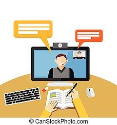 conferencia, concept., o, vídeo, preceptoral, llamada, computer., binar, tela
