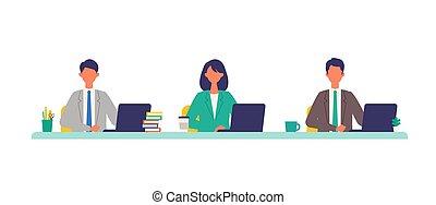 conferencia, concept., personas., vector, ilustración ...