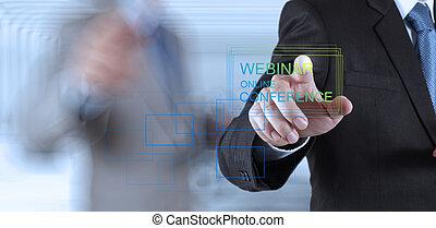 conferencia, concepto, exposición, webinar, mano, en línea, ...
