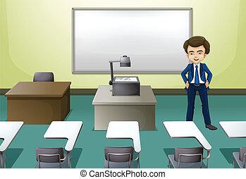 conferencia, dentro, habitación, hombre