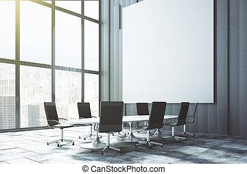 conferencia, desván, pared, grande, arriba, cartel, salida del sol, blanco, blanco, simulado, habitación