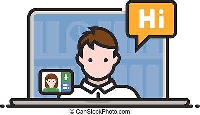 conferencia en línea, vídeo