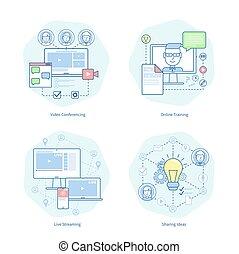 conferencia, entrenamiento, vector, vídeo, ilustración