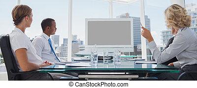 conferencia, gente, vídeo, durante, reunido, empresa / ...