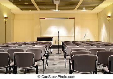 conferencia, interior, habitación