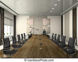 conferencia, interior, moderno, vestíbulo
