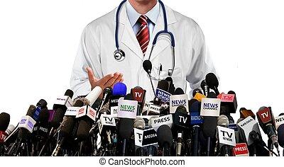 conferencia, medios, prensa, doctor