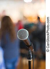 conferencia, micrófono, foco, contra, confuso, audiencia,  vocal