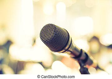 conferencia, micrófono, habitación, effect., vendimia,...