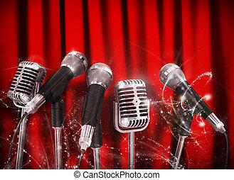 conferencia, micrófonos, brusco, encima, preparado, hablador, reunión, rojo