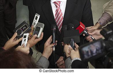 conferencia, micrófonos, periodismo, reunión negocio