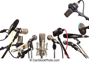 conferencia, micrófonos, reunión, hablador, preparado