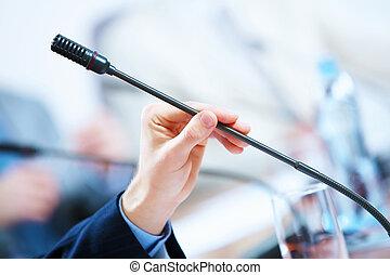 conferencia, micrófonos, vestíbulo
