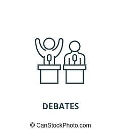 conferencia, persuasión, línea, ilustración, contorno, vector., fuerza, debates, señal, plano, concepto, icono, símbolo