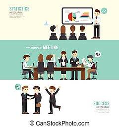conferencia, plano, partnership., conjunto, empresarios, ...