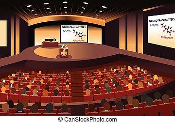 conferencia, presentación, auditorio