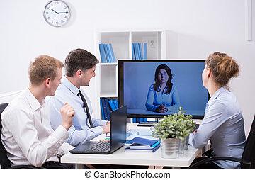 conferencia, tela, teniendo, equipo negocio