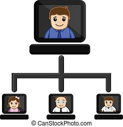 conferencia, vídeo, -, caricatura, empresa / negocio