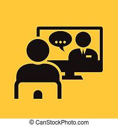 conferencia, vídeo, llamada