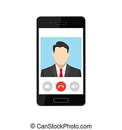 conferencia, vídeo, móvil, reunión, teléfono