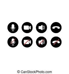 conferencia, vector, conjunto, ilustración, vídeo, icons., llamada
