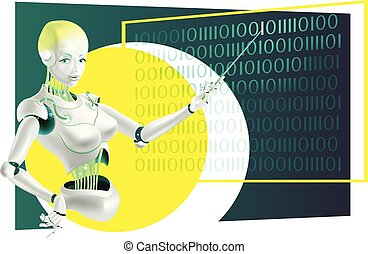 conferenciante, cyborg, robot, ilustración, profesor, indicador, o