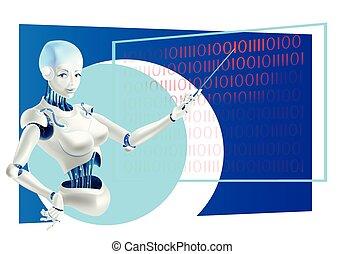 conferenciante, posición, cyborg, robot, mano, profesor, tabla, tenencia, pointer., frente, indicador, o