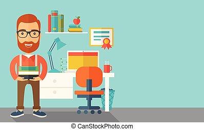 conferencista, books., ou, carregar, estudante, pilha