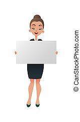 conferencista, ou, mulher, poster., executiva, mostrando, segura, signboard, contra, branca, em branco, experiência., gerente, tábua, segurando, copyspace., horizontais, professor