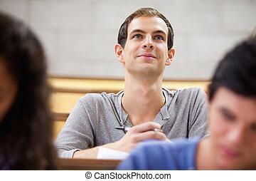 conferencista, sorrindo, escutar, estudante