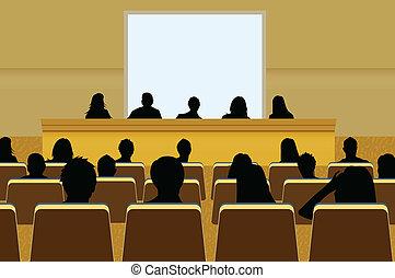 conferentie, audience., of, projectie, menigte, tekst,...