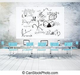 conferentie, blauwe , kamer, zakelijk, stoelen, beton, witte , plan, poser, muur
