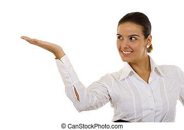 conferentie, businesswoman, of, leraar
